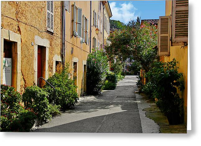 Old town of Valbonne France  Greeting Card by Christine Till