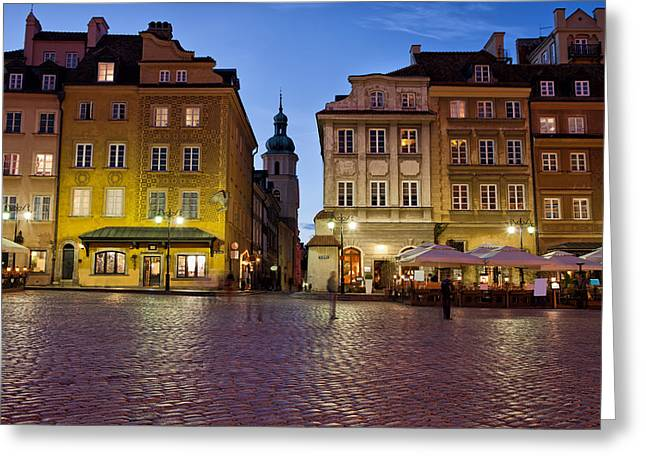 Polish Old Town Greeting Cards - Old Town of Warsaw in the Evening Greeting Card by Artur Bogacki