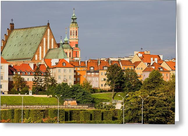 Polish Old Town Greeting Cards - Old Town of Warsaw Skyline Greeting Card by Artur Bogacki