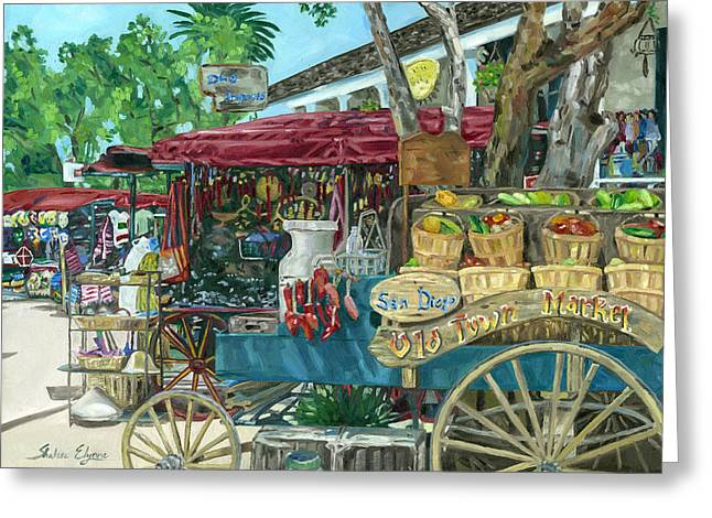 Old Town San Diego Market Greeting Card by Shalece Elynne