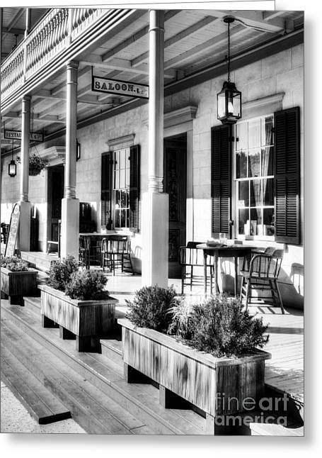 Old Western Photos Greeting Cards - Old Town San Diego shadows 2 BW Greeting Card by Mel Steinhauer