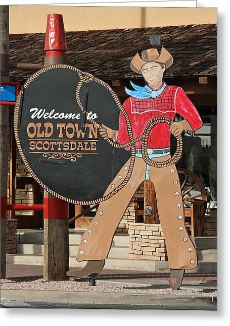 Elizabeth Rose Greeting Cards - Old Town Scottsdale Cowboy Sign Greeting Card by Elizabeth Rose