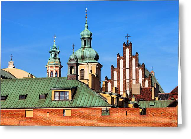 Polish Old Town Greeting Cards - Old Town Skyline in Warsaw Greeting Card by Artur Bogacki