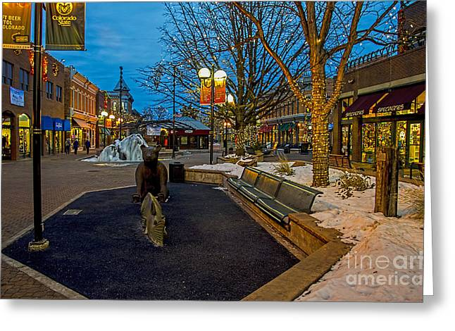 Fort Collins Greeting Cards - Old Town Snow Greeting Card by Keith Ducker