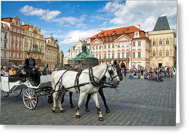 Markt Greeting Cards - Old town square and horse-drawn carriage in beautiful Prague Greeting Card by Matthias Hauser