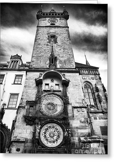 Astronomical Clock Greeting Cards - Old Town Square Clock Tower Greeting Card by John Rizzuto
