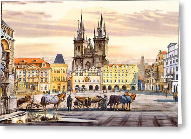 Prague Greeting Cards - Old town square Greeting Card by Dmitry Koptevskiy