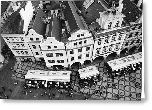 Town Square Greeting Cards - Old town square in Prague in black and white Greeting Card by Matthias Hauser