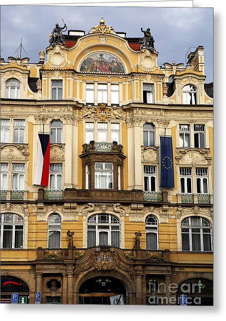 Czech Flag Greeting Cards - Old Town Square in Prague Greeting Card by John Rizzuto