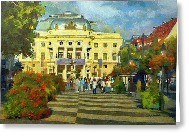 Cityscapes Greeting Cards - Old Town Square Greeting Card by Jeff Kolker
