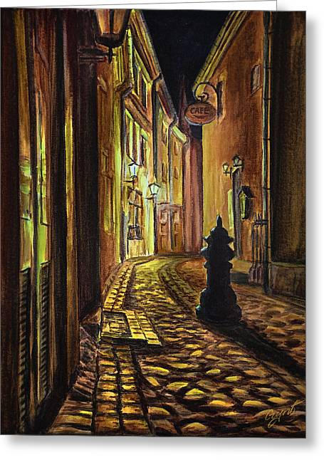 Stone House Mixed Media Greeting Cards - Old Town street at night Greeting Card by Gynt Art