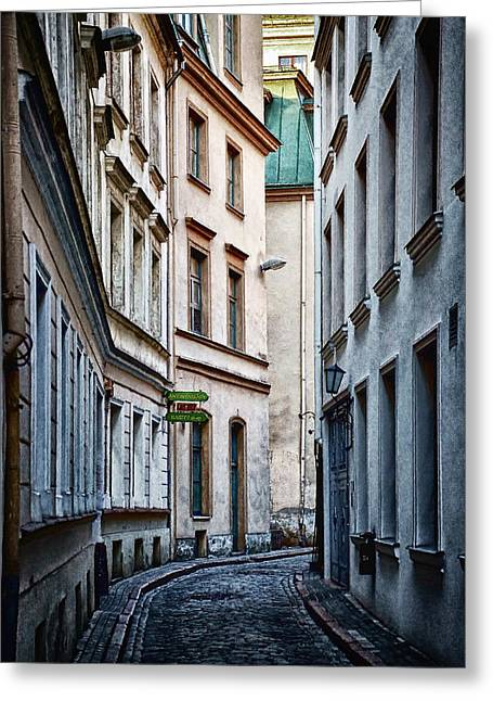 Town Mixed Media Greeting Cards - Old Town street Greeting Card by Gynt