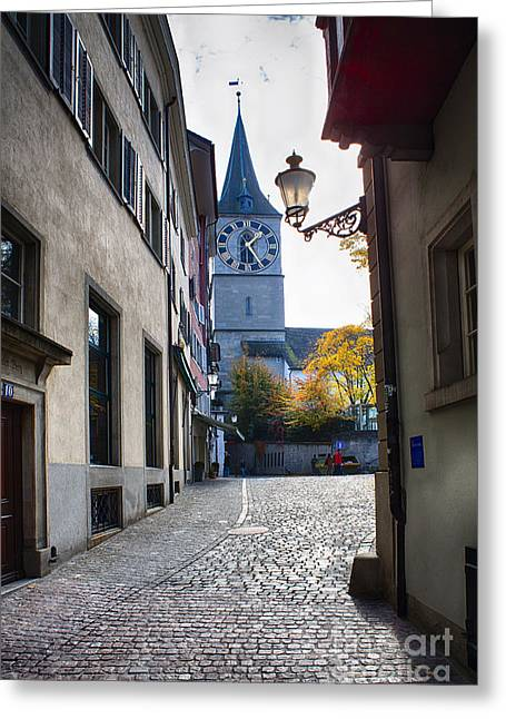 Altstadt Greeting Cards - Old Town Street in Zurich Greeting Card by George Oze