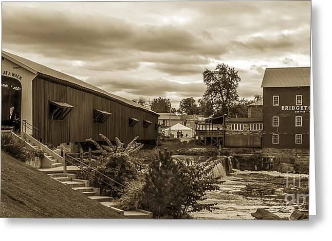 Bridgeton Covered Bridge Greeting Cards - Old Town USA Greeting Card by Michael J Samuels