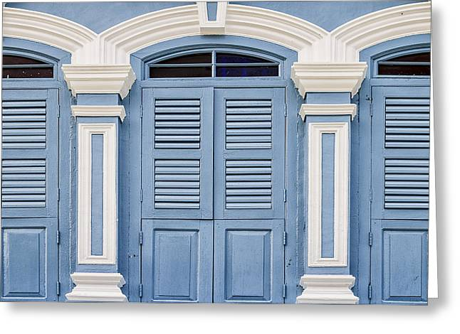 Phuket Greeting Cards - Old Town Windows Greeting Card by Nomad Art And  Design