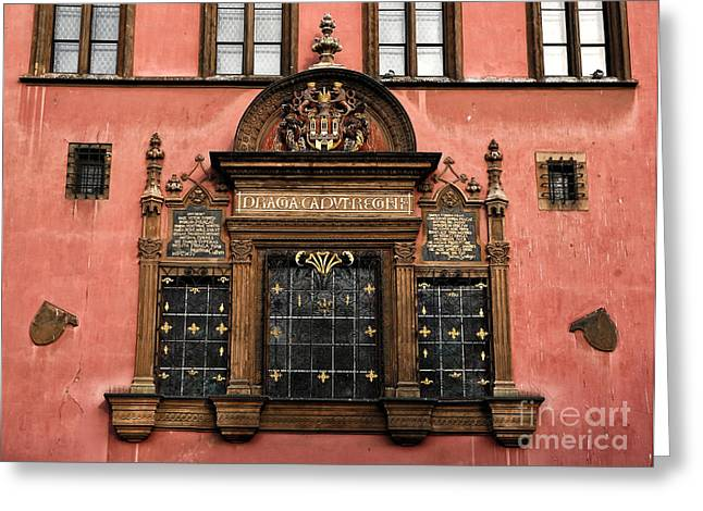 Red Buildings Greeting Cards - Old Town Windows Greeting Card by John Rizzuto