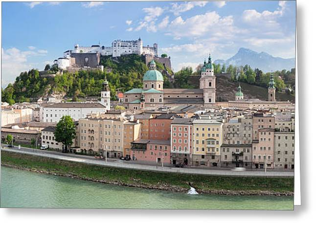 Salzburg Greeting Cards - Old Town With Hohensalzburg Castle, Dom Greeting Card by Panoramic Images