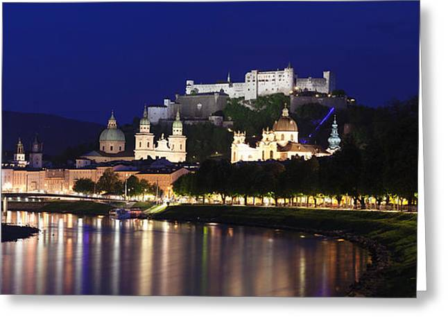 Salzburg Greeting Cards - Old Town With Hohensalzburg Castle Greeting Card by Panoramic Images