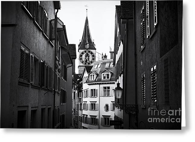 Reform Greeting Cards - Old Town Zurich with St Peter Church Greeting Card by George Oze