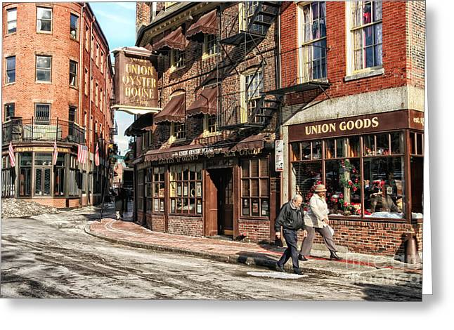 Boston Ma Greeting Cards - Old Towne Boston Greeting Card by Mary Lou Chmura