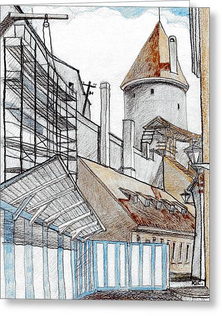 Tallinn Greeting Cards - Old Towns Wall Greeting Card by Serge Yudin