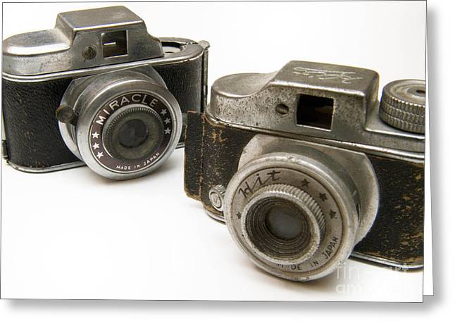 Worn In Greeting Cards - Old Toy Cameras Greeting Card by Amy Cicconi