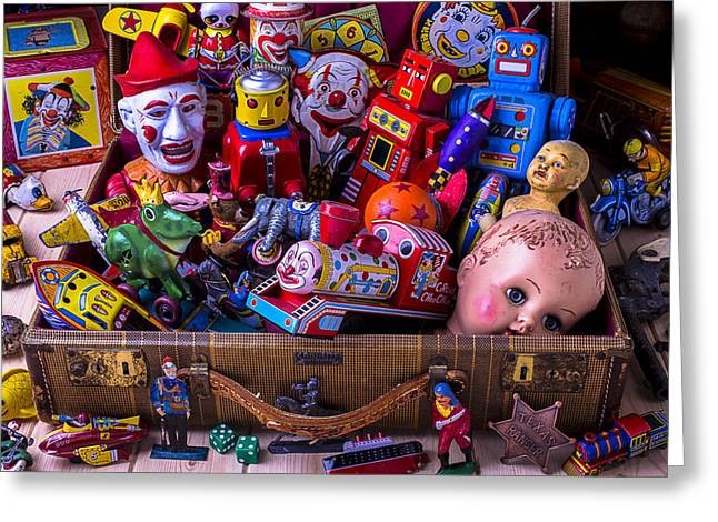 Plaything Greeting Cards - Old Toys In Suitcase Greeting Card by Garry Gay