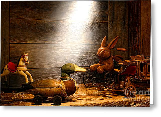 Attic Greeting Cards - Old Toys in the Attic Greeting Card by Olivier Le Queinec