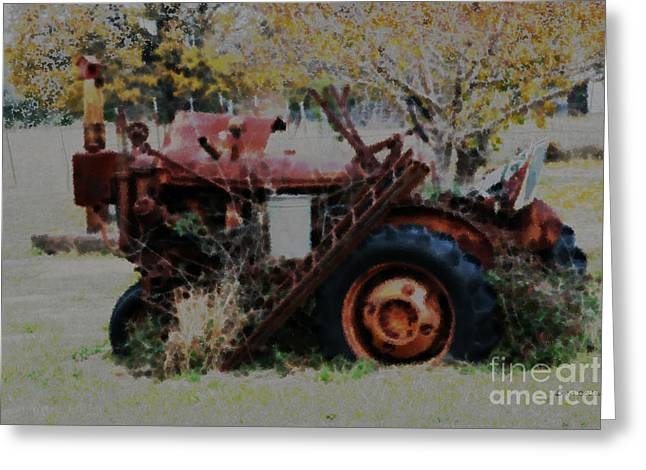 Amanda Collins Greeting Cards - Old Tractor Greeting Card by Amanda Collins