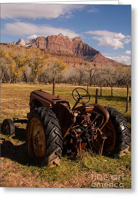 Geobob Greeting Cards - Old Tractor and Mt Kinesava at Grafton Ghost Town near Rockville Utah Greeting Card by Robert Ford