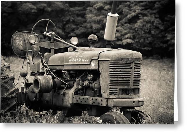 Plowing Field Greeting Cards - Old Tractor Black and White Square Greeting Card by Edward Fielding