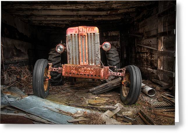Shed Photographs Greeting Cards - Old tractor Face Greeting Card by Gary Heller