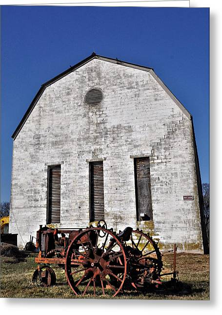 Old Tractor In Front Of Hay Barn Greeting Card by Bill Cannon
