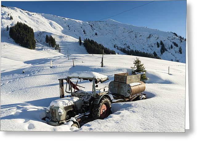 Old Tractor In Winter With Lots Of Snow Waiting For Spring Greeting Card by Matthias Hauser