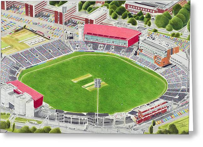 Cricket Paintings Greeting Cards - Old Trafford Cricket Stadia Art - Lancashire County Cricket Club Greeting Card by Brian Casey