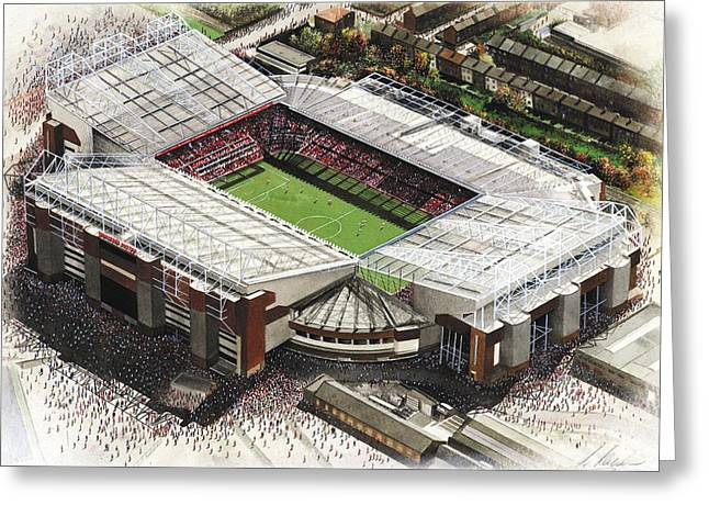 Soccer Greeting Cards Greeting Cards - Old Trafford - Manchester United Greeting Card by Kevin Fletcher