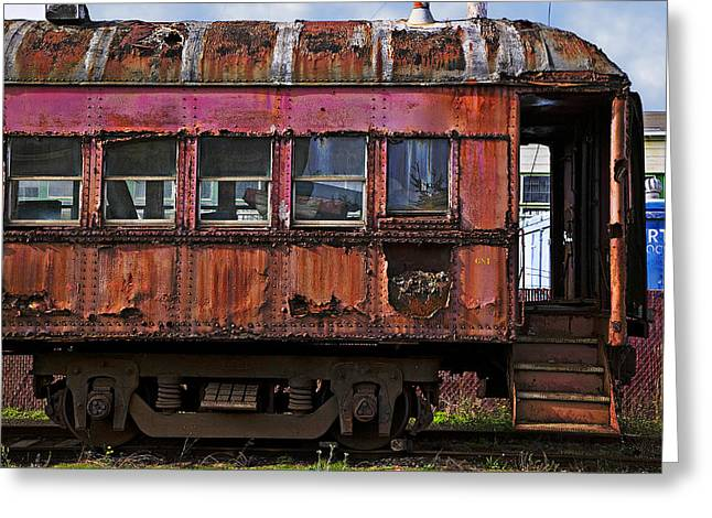 Abandoned Train Greeting Cards - Old train car Greeting Card by Garry Gay