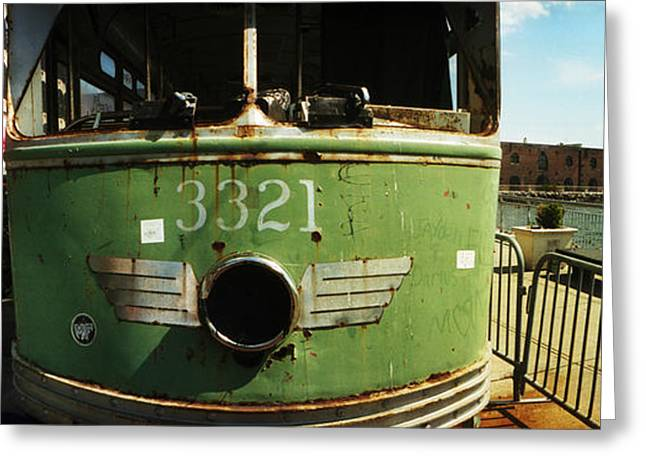 Train Car Greeting Cards - Old Train Car On Display, Red Hook Greeting Card by Panoramic Images
