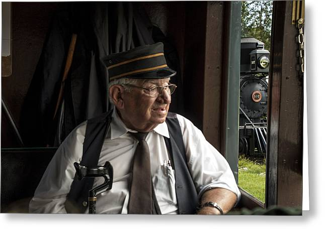 Randy Greeting Cards - Old Train Conductor Greeting Card by Randall Nyhof