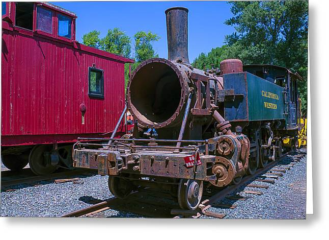 Number One Greeting Cards - Old Train Engine Greeting Card by Garry Gay