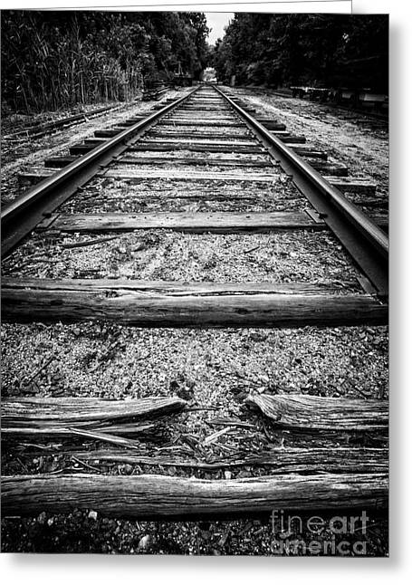 Black Tie Photographs Greeting Cards - Old Train Tracks Greeting Card by Edward Fielding