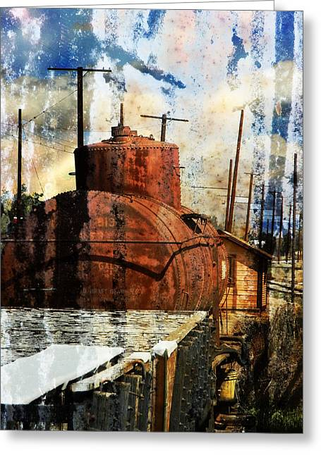 Old Relics Digital Greeting Cards - Old Train Yard Greeting Card by Robert Ball