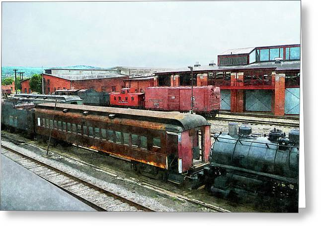Steam Engine Greeting Cards - Old Train Yard Greeting Card by Susan Savad