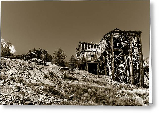 White Knob Mountains Greeting Cards - Old Tramway Headhouse Greeting Card by Robert Bales