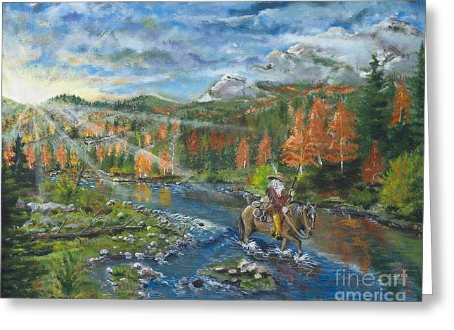 Rivers In The Fall Paintings Greeting Cards - Old Trapper walking the river Greeting Card by Ornon Shaw