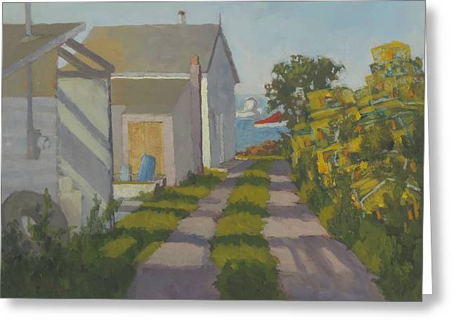 Old Maine Houses Greeting Cards - Old Traps and Fish House Greeting Card by Bill Tomsa