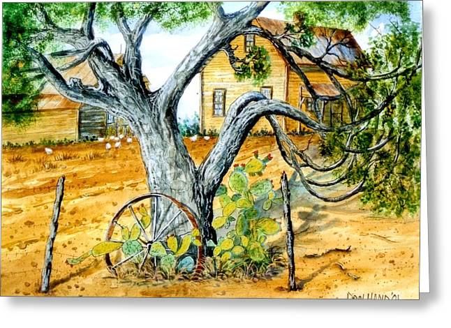 Wagon Wheels Mixed Media Greeting Cards - Old Tree Greeting Card by Don Hand