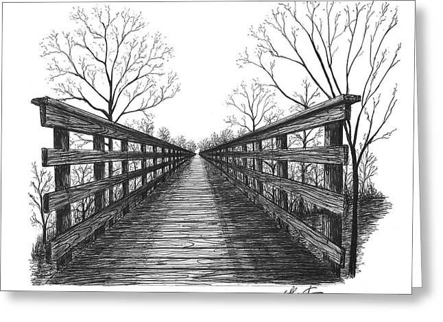 Hand Drawn Greeting Cards - Old Trestle Bridge Trail Greeting Card by Adam Vereecke