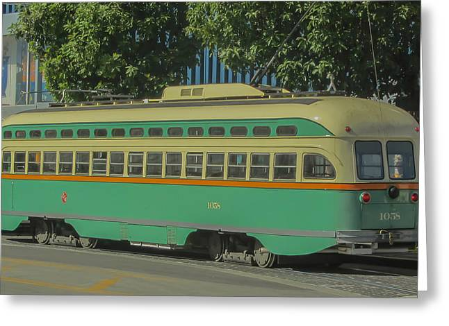 Subcompact Greeting Cards - Old Trolley Car Greeting Card by James Canning