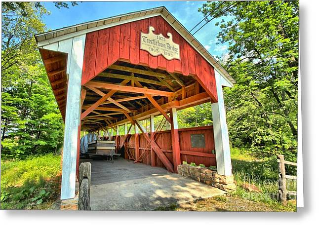 Covered Bridge Greeting Cards - Old Trostle Town Bridge Greeting Card by Adam Jewell